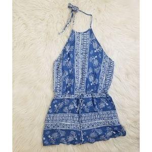 Lulus blue & white halter printed romper M